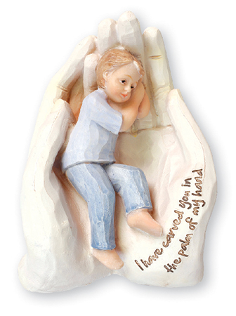 Resin Statue 6 1/2 inch - Palm of Hand/Boy   (34620)