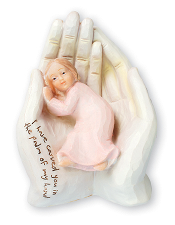 Resin Statue 6 1/2 inch - Palm of Hand/Girl   (34621)