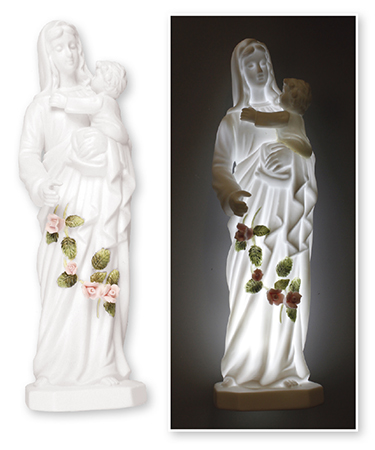 Ceramic Madonna & Child Statue 8 inch/With Light   (37823)