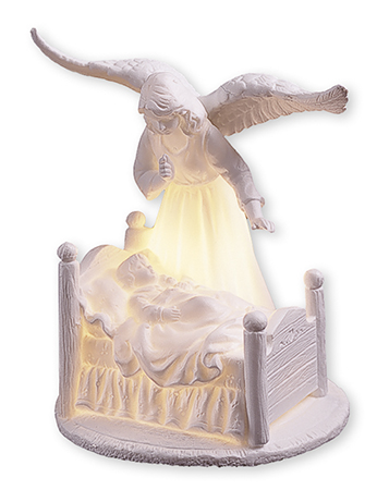 Ceramic Guardian Angel 6 1/2 inch/With Light   (37834)
