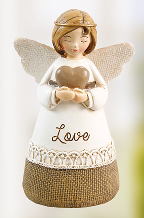 Resin 4 1/4 inch Message Angel/Love   (39314)