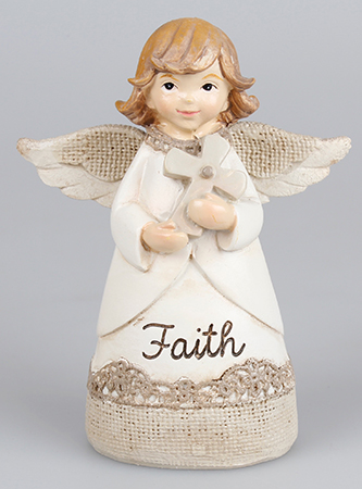 Resin 4 1/4 inch Message Angel/Cross/Faith   (39330)