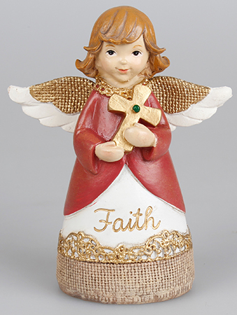 Resin 4 1/4 inch Message Angel/Cross/Faith   (39331)