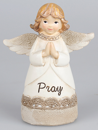Resin 4 1/4 inch Message Angel/Praying hands   (39332)