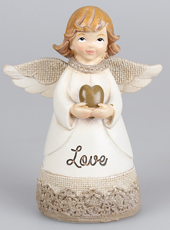 Resin 4 1/4 inch Message Angel/Heart/Love   (39334)