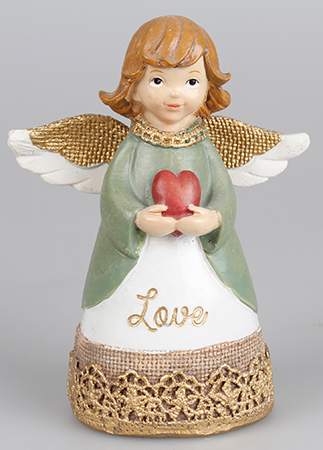 Resin 4 1/4 inch Message Angel/Heart/Love   (39335)
