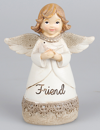 Resin 4 1/4 inch Message Angel/Dove/Friend   (39336)