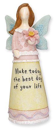 Resin 6 1/2 inch Message Angel/Best day...   (3940)
