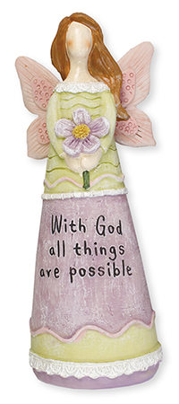 Resin 6 1/4 inch Message Angel/With God...   (3944)