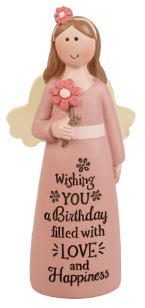 Resin 4 inch Message Angel/Birthday Wishes...   (39531)