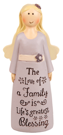 Resin 4 inch Message Angel/Family Blessing...   (39533)