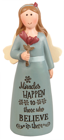 Resin 4 inch Message Angel/Miracles Happen   (39537)