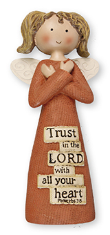 Resin 5 inch Message Angel/Trust in the Lord..   (3956)