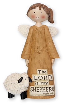 Resin 5 inch Message Angel/Lord is my Shepherd   (3957)