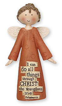 Resin 5 inch Message Angel/I can do all things...   (3958)