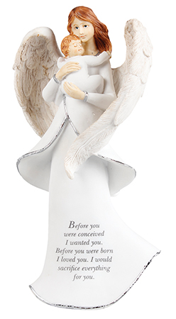 Resin 8 inch Message Angel/Miracle of Life   (39608)