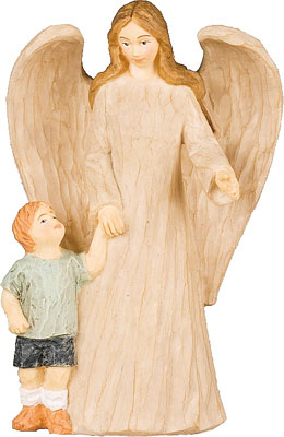 5 inch Faux Wood Resin Angel with Boy   (3965)