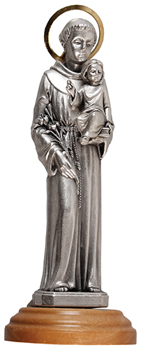 Metal Statue/St.Anthony/Olive Wood Base   (54901)