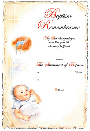 Baptismal Certificate For Baby Boy   (5806)