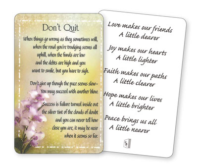 Prayer Card - Don't Quit   (71841)