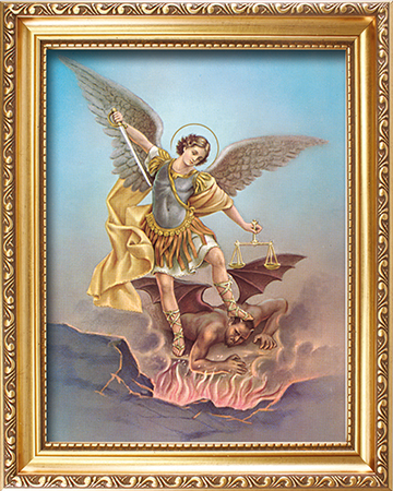 Wood Framed Picture/Saint Michael   (83278)