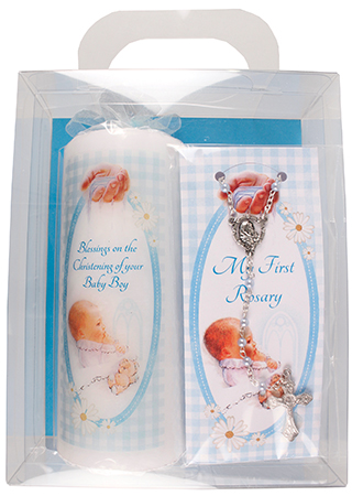 Baby Boy Candle 6 inch Gift Boxed/With Rosary   (86508)