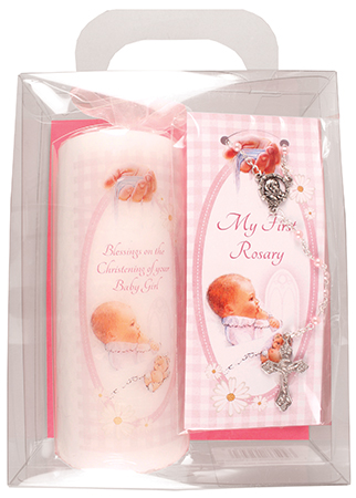 Baby Girl Candle 6 inch Gift Boxed/With Rosary   (86509)