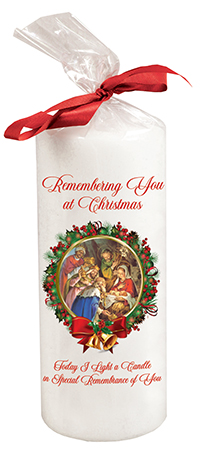 Candle  6 inch with Red Ribbon/Nativity   (86703)
