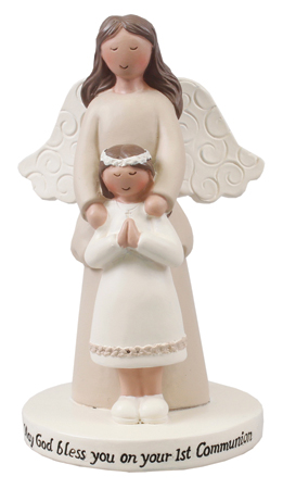 Resin Communion Statue/Guardian Angel/Girl 4 inch   (C39541)