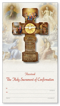 Confirmation Cross on Card/Certificate   (F10297)