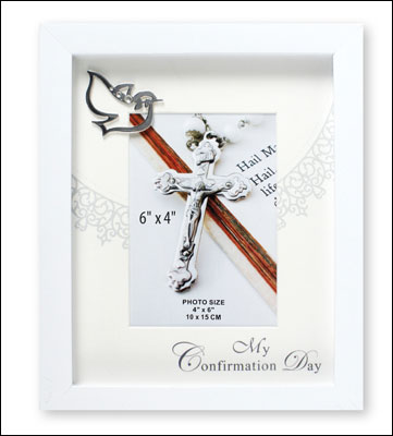 Confirmation Photo Frame/White Finish/Symbolic   (F46260)