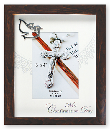 Confirmation Photo Frame/Brown Finish/Symbolic   (F46261)